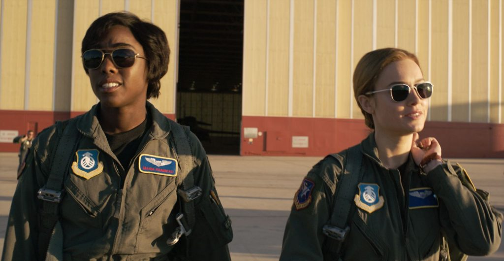Lashana Lynch and Brie Larson as Monica Rambeau and Carol Danvers in Captain Marvel