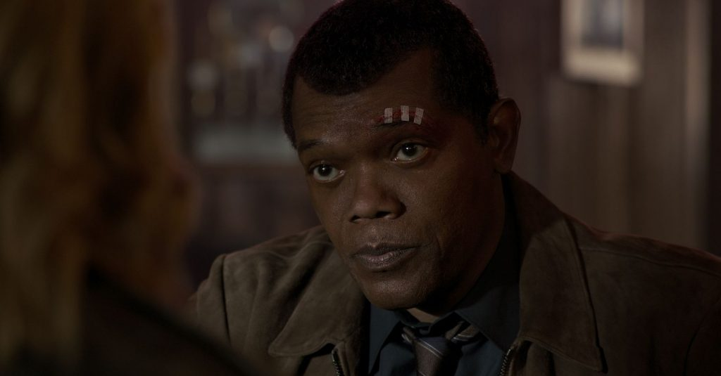 Samuel L Jackson as a younger Nick Fury in Captain Marvel
